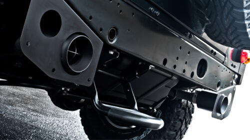 Twin Crosshair Exhaust System inc. Exhaust Shields in Stainless Steel - 100mm Tailpipes Black ? or Chrome ?